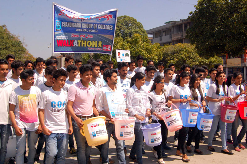 The Students of Chandigarh Group of Colleges Jhanjeri, organized a World Water Walkathon 2040 at sector 17, Chandigarh