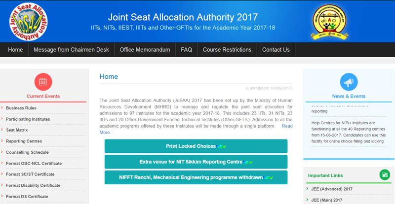 JoSAA-Seat-Allotment-Results-2017