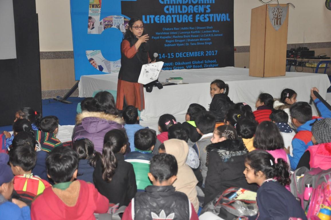 Actress & Storyteller Lovleen Misra conduting a storytelling