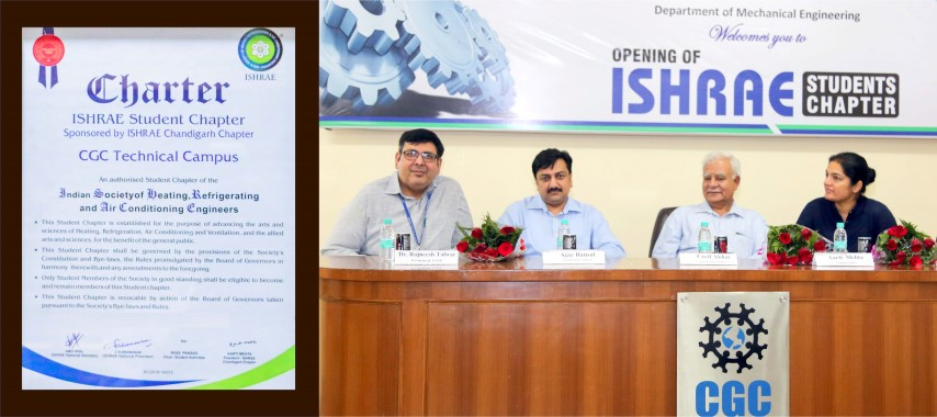 Student Chapter of ISHRAE Launched at CGC Jhanjeri