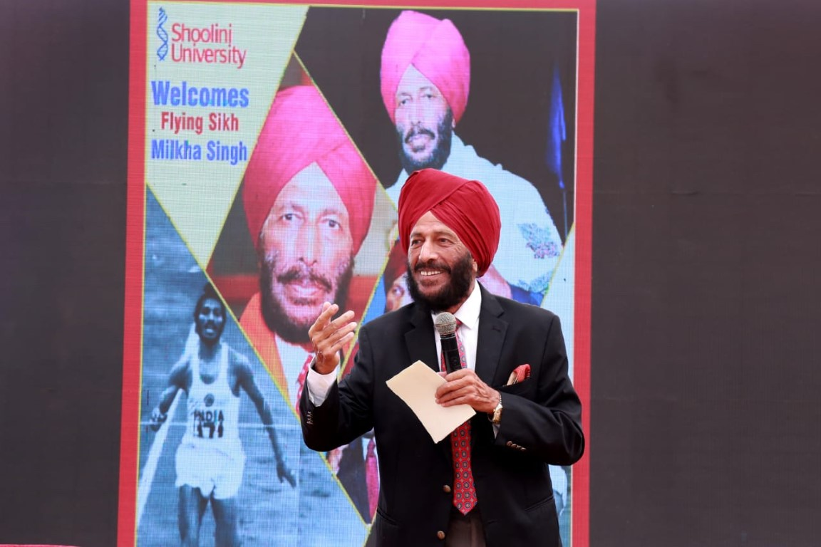Milkha Singh interacts with Sholini University Students