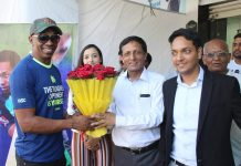 "Dwayne John Bravo (DJ Bravo ) unveiled of ""DSC DJ Bravo Series Bat"" at Cricketer Shop, Mohali"