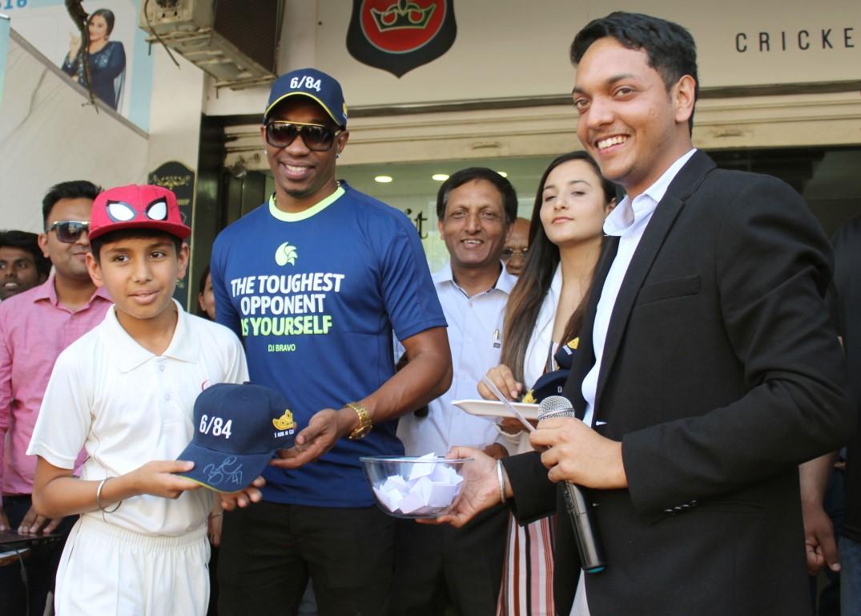 "Dwayne John Bravo (DJ Bravo ) unveiled of ""DSC DJ Bravo Series Bat"" at Cricketer Shop, Mohali"