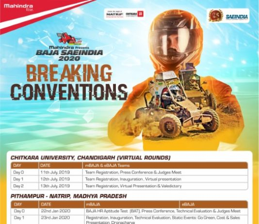 Registrations for Mahindra BAJA SAEINDIA 2020 Open