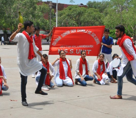 I S Dev Samaj School students stage street play on 'Water Conservation