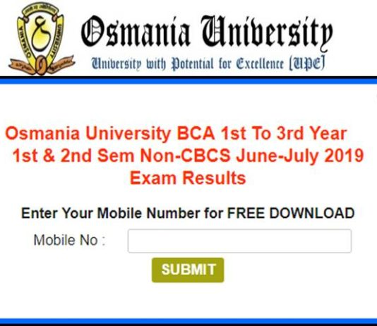 Osmania University BCA, BE Results 2019 Declared