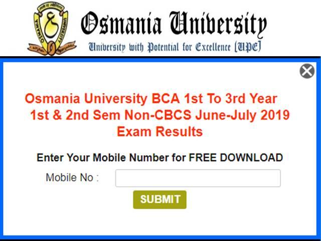Osmania University BCA, BE Results 2019 Declared