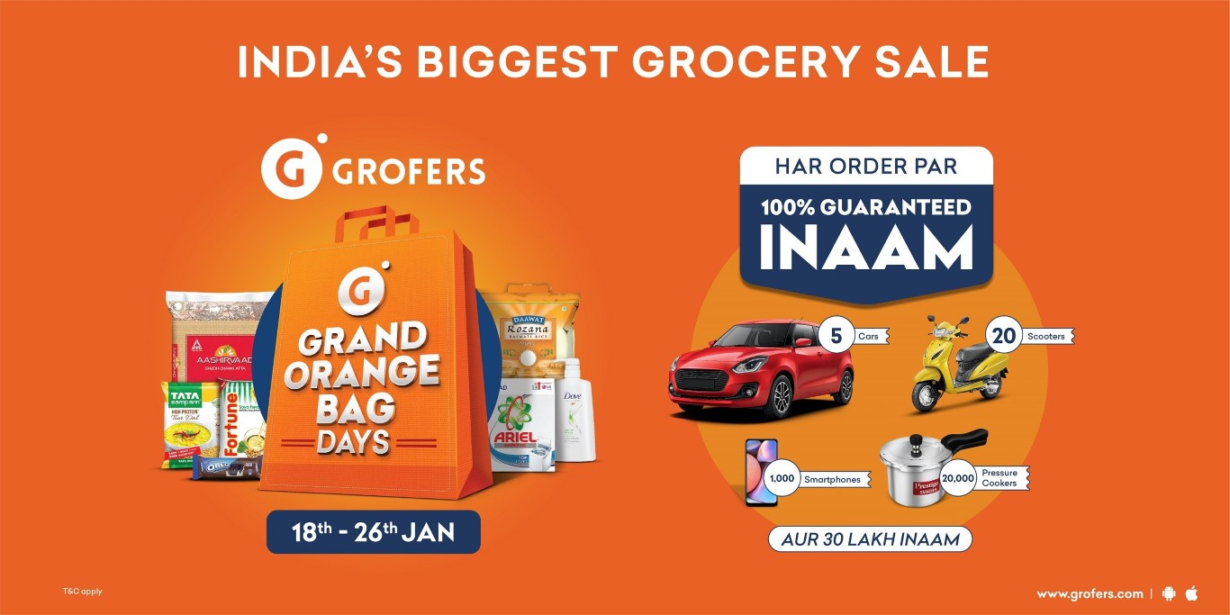 Shoppers are winning big during the ongoing Grofers Grand Orange Bag Days