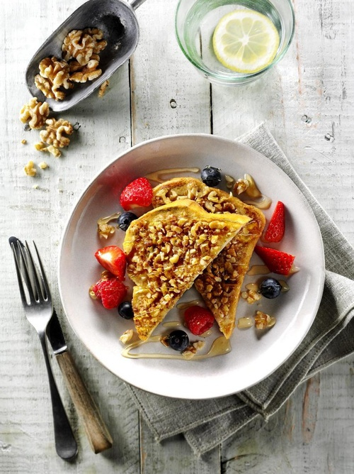 Walnut Crusted French Toast with Berries