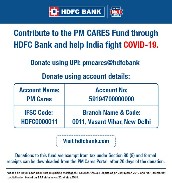 HDFC Bank receives mandate to collect donations for PM Cares Fund