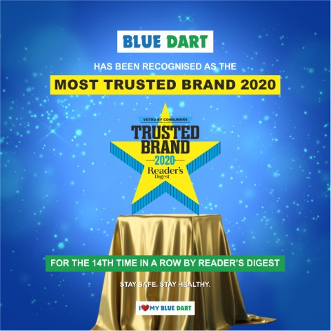 Blue Dart listed as a Reader's Digest 'Most Trusted Brand' for the 14th Year in a row