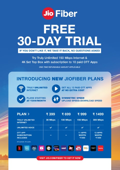 JioFiber announces No Condition 30-Day Free Trial for all New Customers