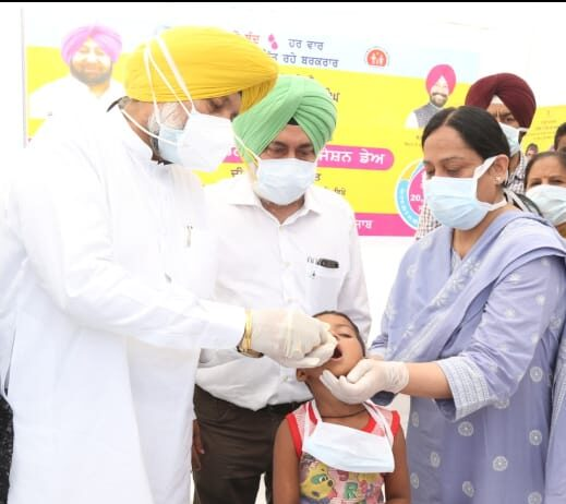 Health Minister Balbir Singh Sidhu launches three-day polio vaccination drive