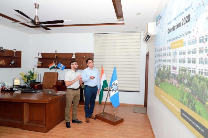 Rashpal Singh Dhaliwal, President, CGC launching that webpage and orientation platform with Arsh Dhaliwal at Chandigarh Group of Colleges, Jhanjeri.