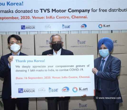 South Korea donates One lakh masks to TVS Motor Company for free distribution