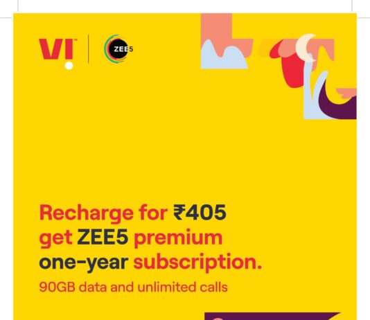 ZEE5 premium subscription EXCLUSIVELY for Vi customers with INR 405 Recharge