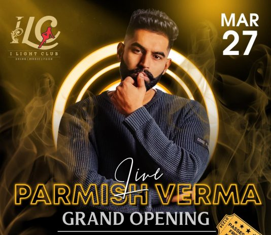 Punjabi singer Parmish Verma performing at I Light ClubGreater Noida