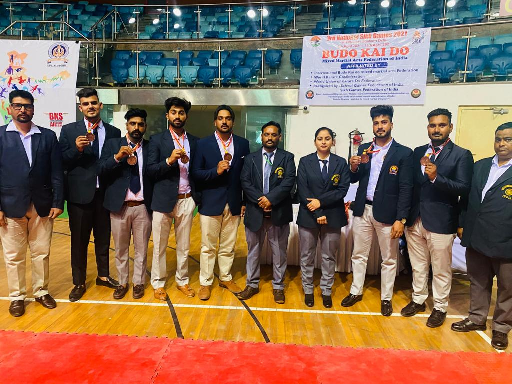 Players of Budo Kai Do Mixed Martial Arts Federation of India take part in National Sikh Games 2021