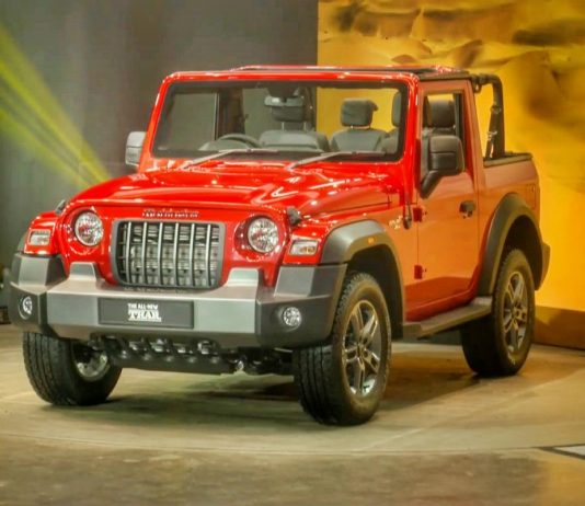 Unique barbeque framing behind iconic Mahindra Thar