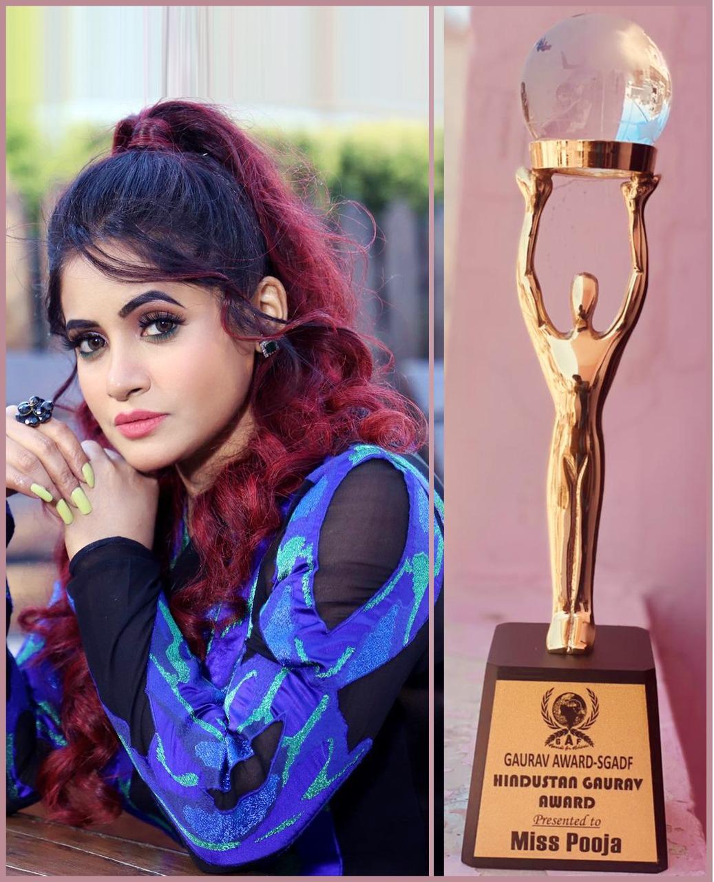 Miss Pooja awarded with Coveted Hindustan Gaurav Award: